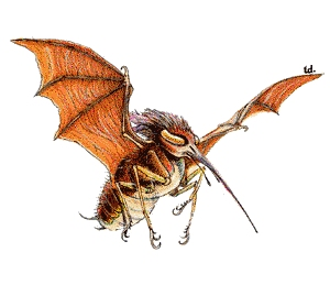 What's not to love about this guy? A cross between a mosquito and a bat with a voracious appetite for blood? Sign me up!